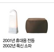 2001년 휴대용 전등과 2002년 푹신 소파