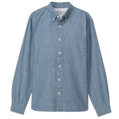 샴브레이 버튼다운 셔츠