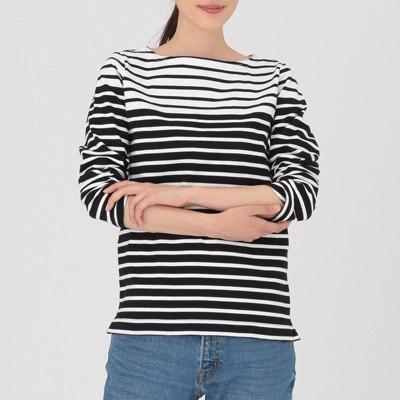 배색 보더 긴소매 티셔츠