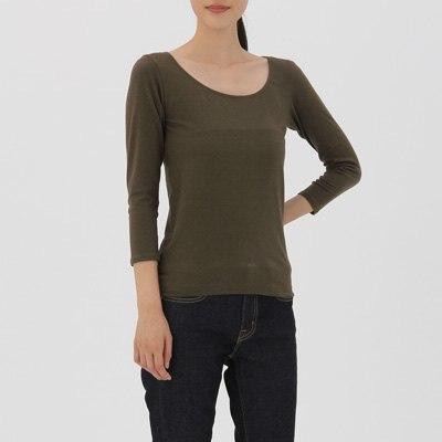 U넥 8부소매 셔츠