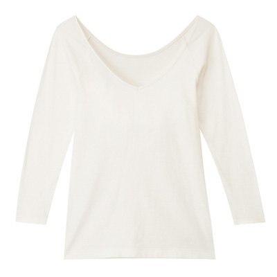 V넥 8부소매 셔츠