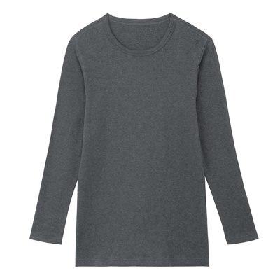 따뜻한 코튼 울 스무스 · 크루넥 긴소매 셔츠 · 남성