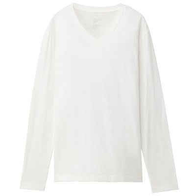 V넥 긴소매 티셔츠