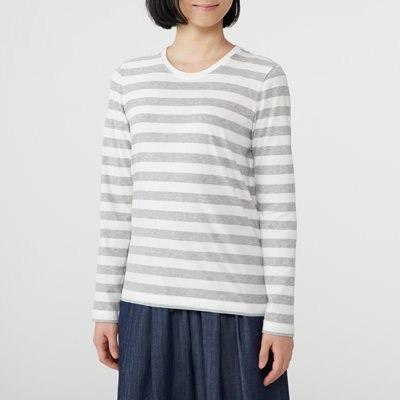 오가닉 코튼 · 크루넥 긴소매 티셔츠