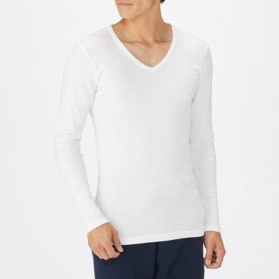 따뜻한 코튼 울 스무스 · V넥 긴소매 티셔츠 · 남성