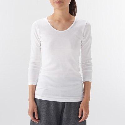 따뜻한 코튼 울 스무스 · U넥 8부소매 티셔츠 · 여성
