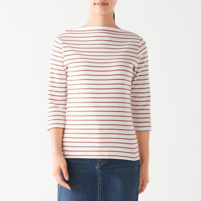 보트넥 7부소매 티셔츠