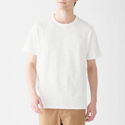 인도 면 슬러브 · 크루넥 반소매 티셔츠