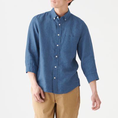 버튼다운 7부소매 셔츠
