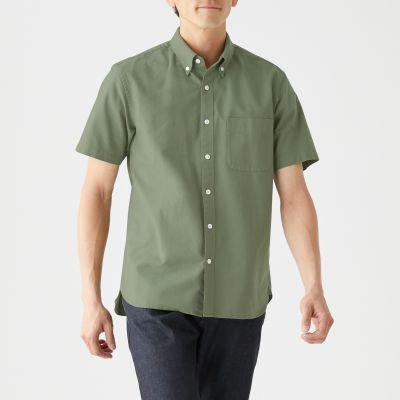 신강면 워싱 옥스포드 · 버튼다운 반소매 셔츠