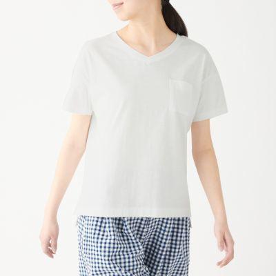 V넥 반소매 티셔츠