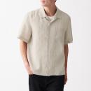 프렌치 리넨 워싱 · 오픈 칼라 반소매 셔츠