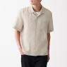 프렌치 리넨 워싱 · 오픈 칼라 반소매 셔츠 상품이미지