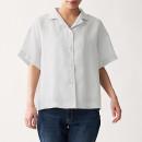 오가닉 리넨 워싱 · 반소매 오픈칼라 셔츠
