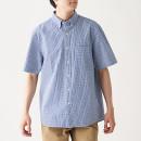 신강면 서커 체크 · 버튼다운 반소매 셔츠