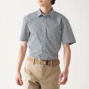 신강면 스트레치 형태안정 · 체크 반소매 셔츠
