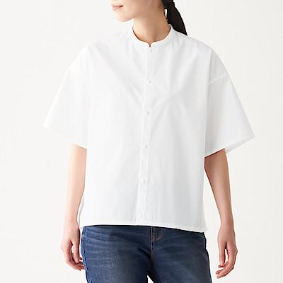 면 혼방 스트레치 · 반소매 스탠드칼라 셔츠