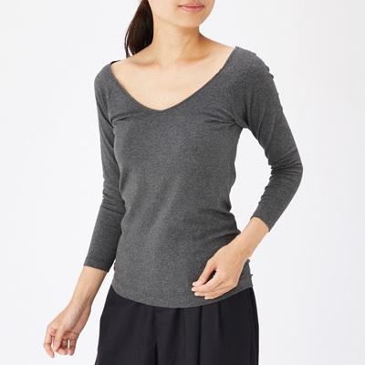 발열 면 · V넥 8부소매 티셔츠
