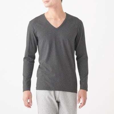 발열 면 · V넥 긴소매 티셔츠