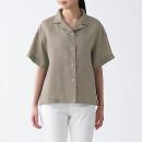 오가닉 리넨 워싱 · 오픈칼라 반소매 셔츠
