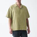 워싱 옥스포드 · 오픈 칼라 반소매 셔츠