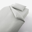 이불 커버 세트 · 침대용 · S · 멜란지그레이 · 재생 코튼 혼방